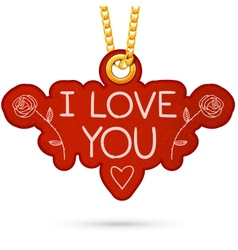 I love you text Label tag hanging on golden chain vector image