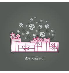 Merry Christmas gift greeting card Paper design vector image