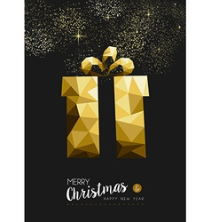 Merry christmas happy new year gold gift triangle vector image vector image