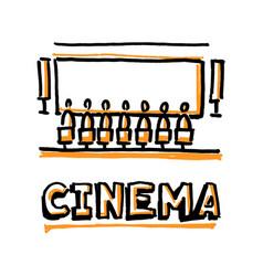 people sitting in cinema hall word cinema vector image vector image