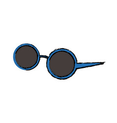 Round sunglasses accessory female style vector