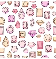 Seamless pattern with diamonds jem stones vector image