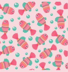 seamless pattern with pink fish vector image vector image