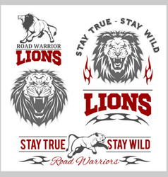 set of lions themed sport logo vector image vector image