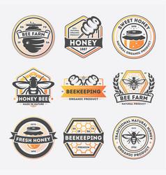 sweet honey vintage isolated label set vector image