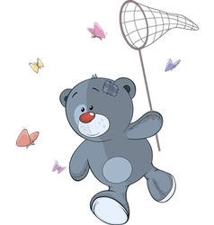 The stuffed toy bear cub and butterfly net cartoon vector image