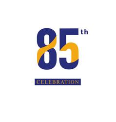 85 th anniversary celebration orange blue vector