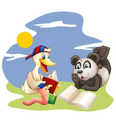 A panda a duck and a worm reading vector image