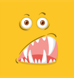 A yellow monster face vector