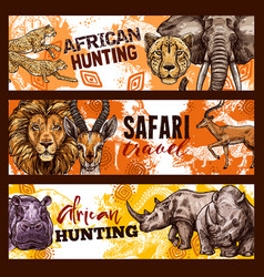 African safari hunting sketch banners with animals vector