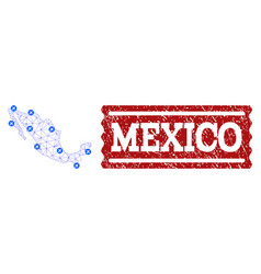 Air ticket collage of polygonal mesh map of mexico vector