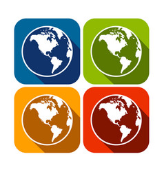 america continent map globe square flat icons vector image