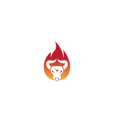 angry bull head in fire buffalo cow flame vector image