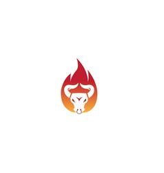 Angry bull head in fire buffalo cow flame vector