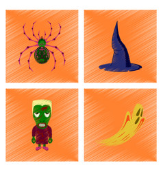 Assembly flat shading style icon spider witch hat vector