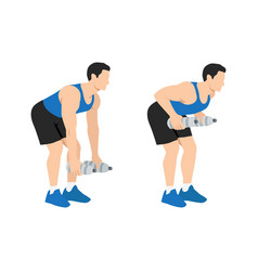 Bent over two armed water bottle rows exercise vector