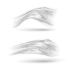 Binary code halftone wavy shapes set abstract vector
