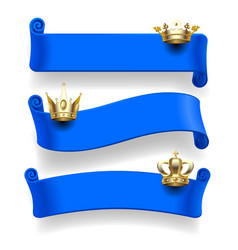 blue ribbons with gold crowns vector image