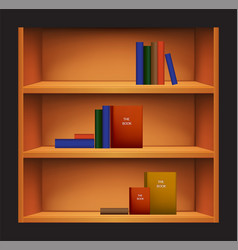 bookshelf and books with different covers vector image