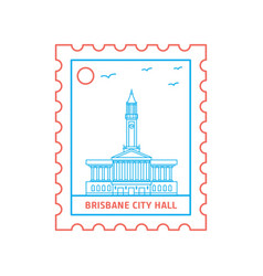 brisbane city hall postage stamp blue and red vector image