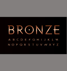 bronze letters set thin lines unusual style vector image