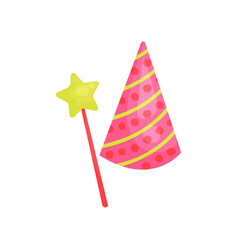 cartoon icon of pink cone hat with colorful vector image