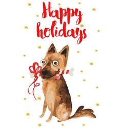 christmas card with german shepherd vector image