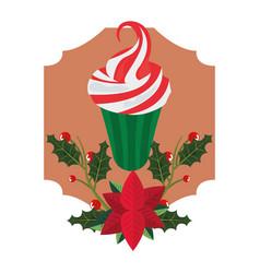 Christmas cupcake dessert ponsettia flower vector