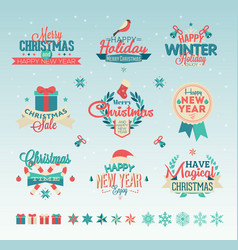 christmas vintage typography design vector image