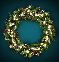 Christmas wreath with lights vector image
