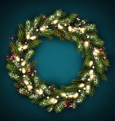 Christmas wreath with lights vector