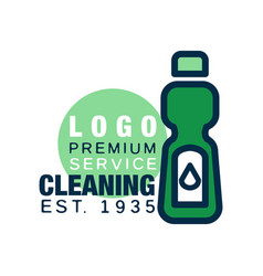 Cleaning service logo template detergent bottle vector