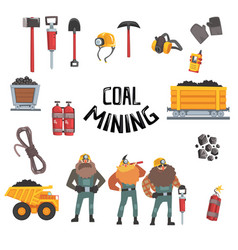 Coal mining industry set working miners vector