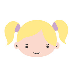 Colorful girl head with two tails hair vector