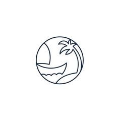 Continuous one line icon boat vector