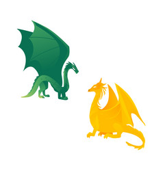 Couple of flying dragon fictional characters vector