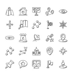 Creatively designed icons of navigation and mappi vector
