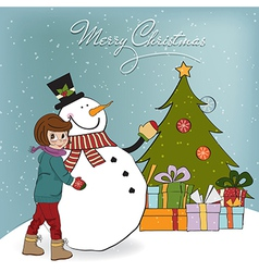 Cute little girl with snowman vector