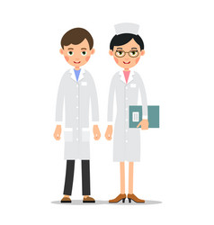 doctors doctor man and woman in uniform cartoon vector image