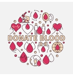 Donate blood flat round vector
