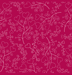 doodle seamless pattern with hand-drawn hearts vector image