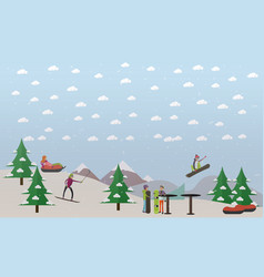 downhill ski track in flat vector image