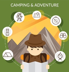 Explorer with Camping Icons and Mountain Backgroun vector image