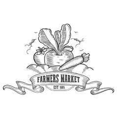 Farmers market badge Monochrome vintage engraving vector image