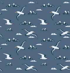Flying albatross and tern in antarctica seamless vector