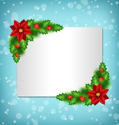 Frame with poinsettia holly and pine on blue vector