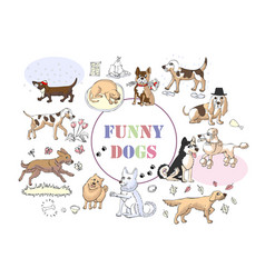 funny dogs sketches hand drawn vector image