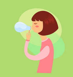 girl playing soap bubbles vector image