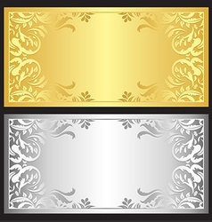 Gold and silver gift coupon with damask ornament vector