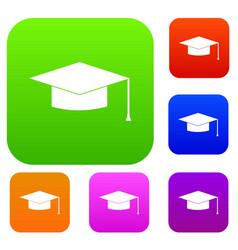 Graduation cap set collection vector